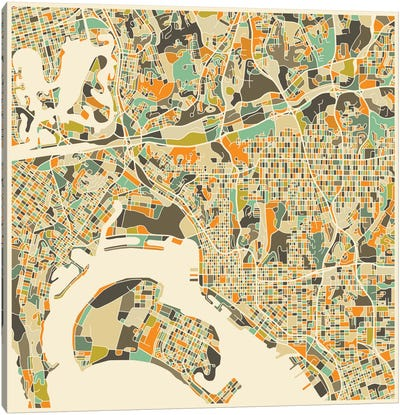 Abstract City Map of San Diego Canvas Art Print