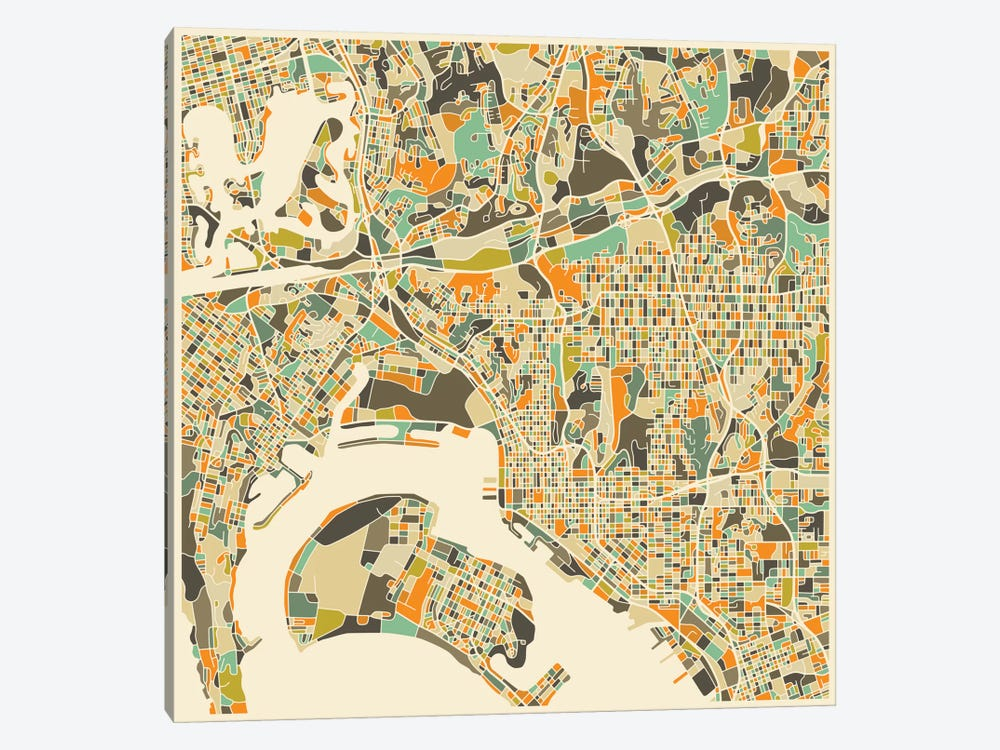 Abstract City Map of San Diego by Jazzberry Blue 1-piece Canvas Art Print