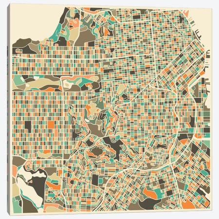 Abstract City Map of San Francisco Canvas Print #JBL117} by Jazzberry Blue Canvas Artwork