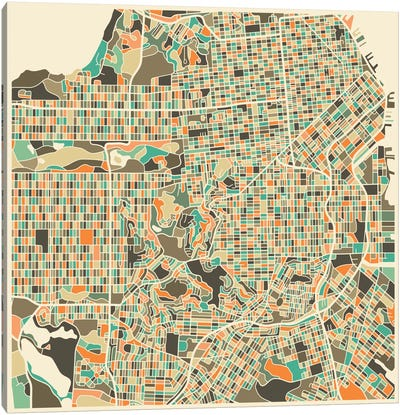 Abstract City Map of San Francisco Canvas Art Print