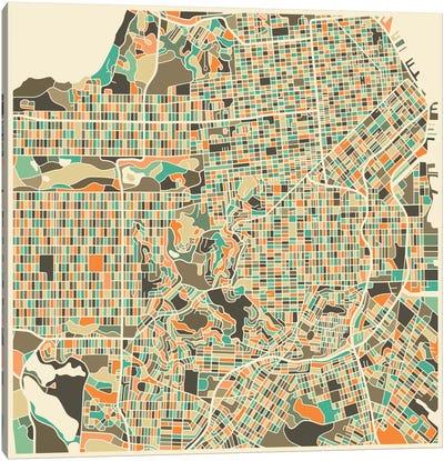 Abstract City Map of San Francisco Canvas Art Print