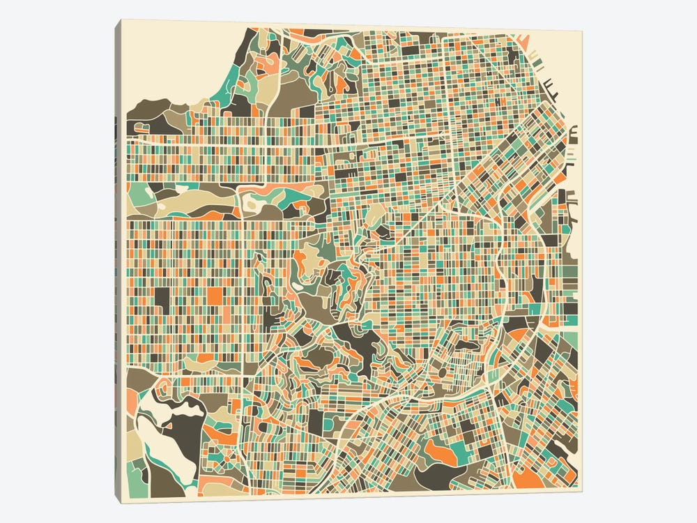 Abstract City Map of San Francisco by Jazzberry Blue 1-piece Canvas Art