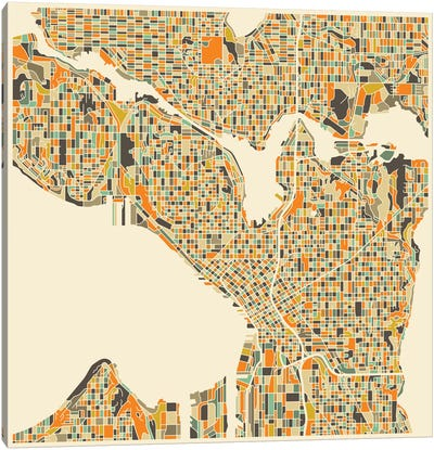 Abstract City Map of Seattle Canvas Art Print