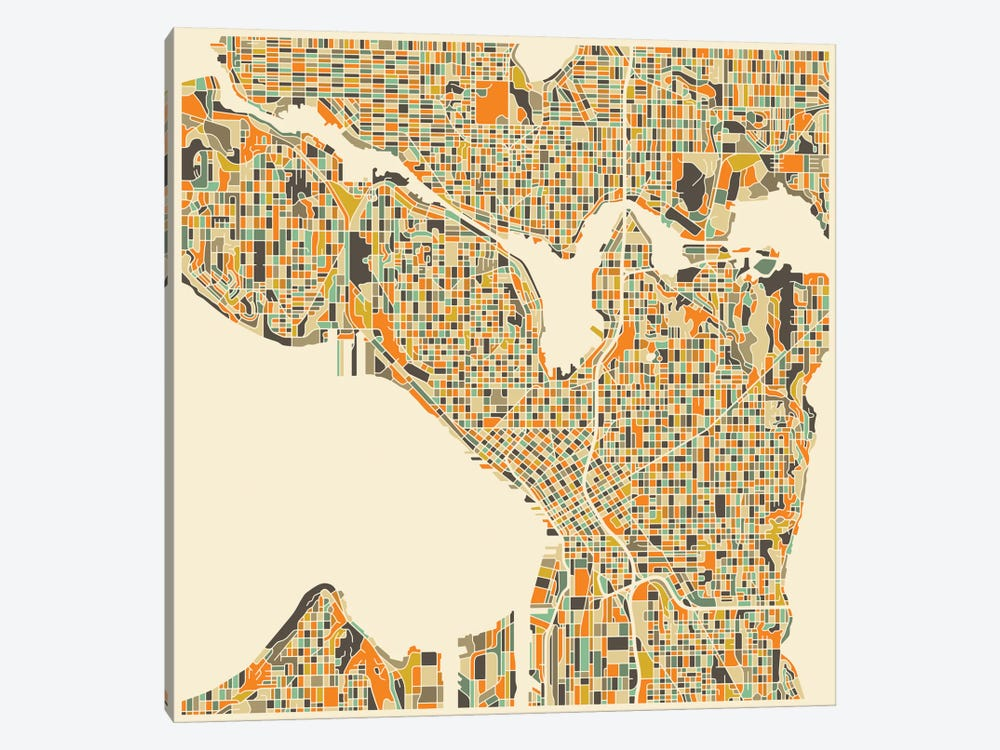Abstract City Map of Seattle by Jazzberry Blue 1-piece Art Print