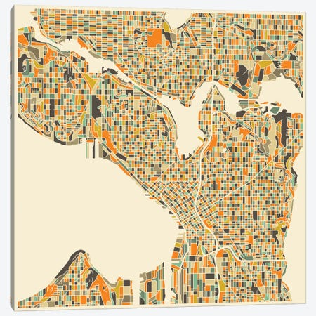 Abstract City Map of Seattle Canvas Print #JBL118} by Jazzberry Blue Art Print