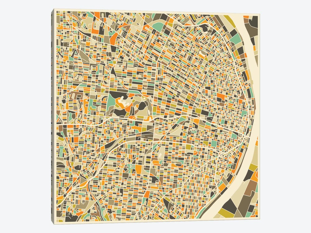 Abstract City Map of St. Louis by Jazzberry Blue 1-piece Canvas Artwork