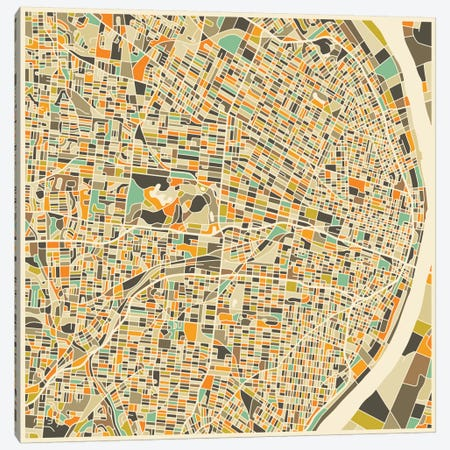 Abstract City Map of St. Louis Canvas Print #JBL119} by Jazzberry Blue Art Print