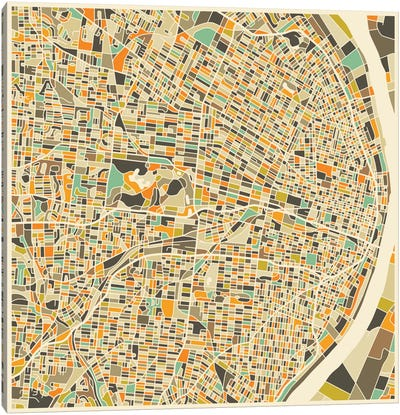 Abstract City Map of St. Louis Canvas Art Print