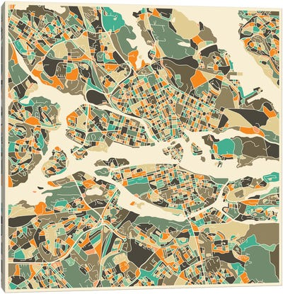 Abstract City Map of Stockholm Canvas Art Print