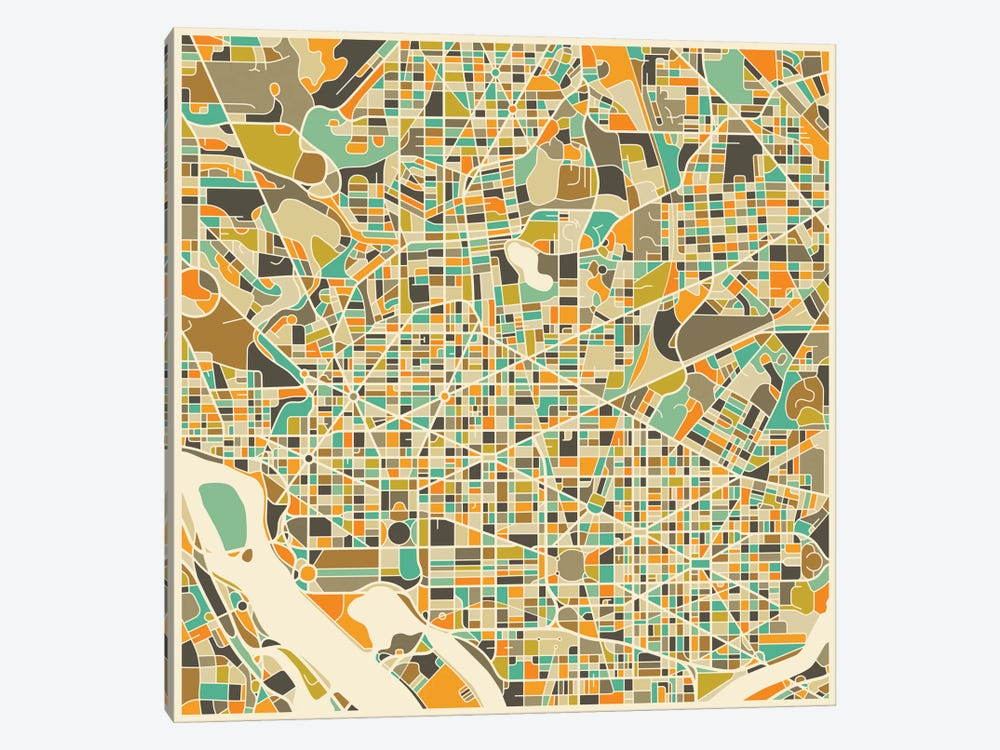 Abstract City Map of Washington by Jazzberry Blue 1-piece Canvas Print