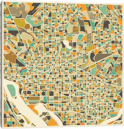 Abstract City Map of Washington Canvas Art Print