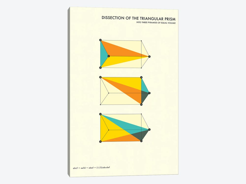 Dissection Of The Triangular Prism by Jazzberry Blue 1-piece Canvas Art