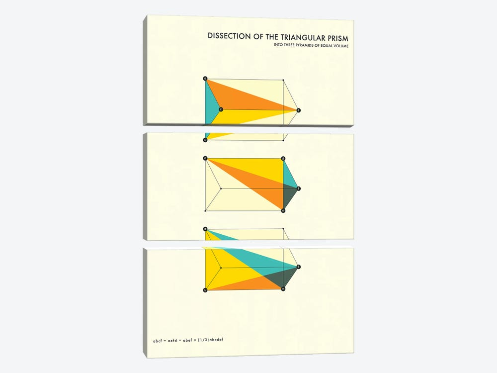 Dissection Of The Triangular Prism by Jazzberry Blue 3-piece Canvas Art