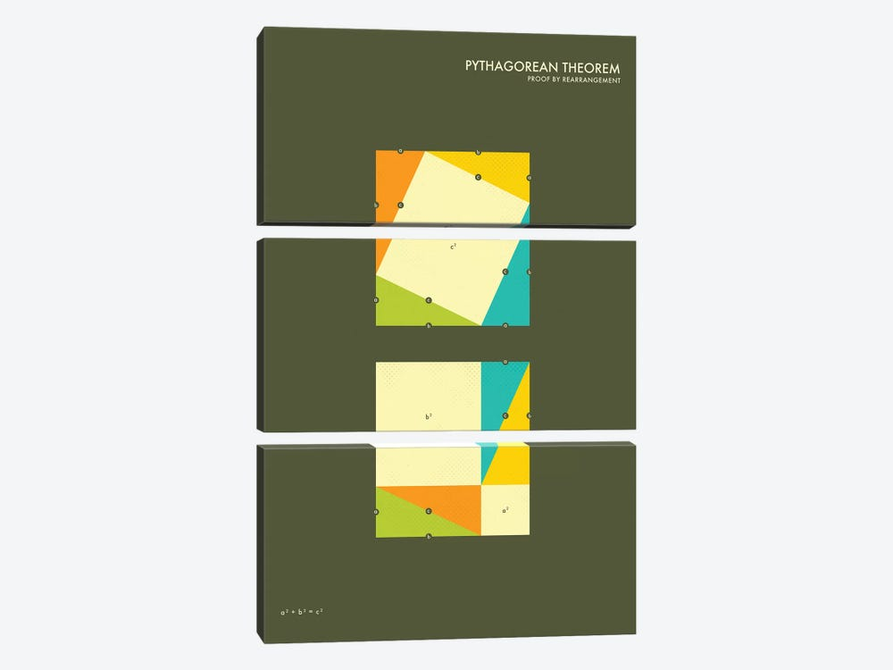 Pythagorean Theorem Proof III 3-piece Canvas Wall Art