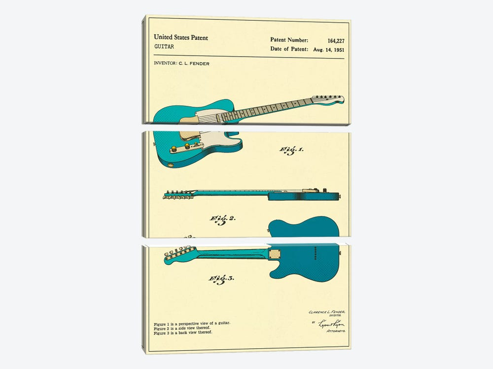 C.L. Fender Guitar Patent by Jazzberry Blue 3-piece Canvas Print