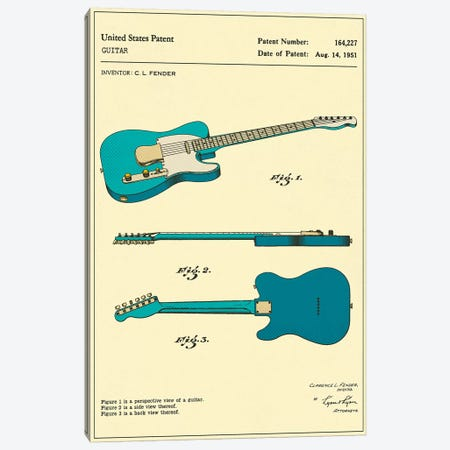 C.L. Fender Guitar Patent Canvas Print #JBL145} by Jazzberry Blue Canvas Art Print