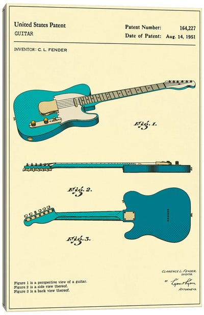 C.L. Fender Guitar Patent Canvas Art Print