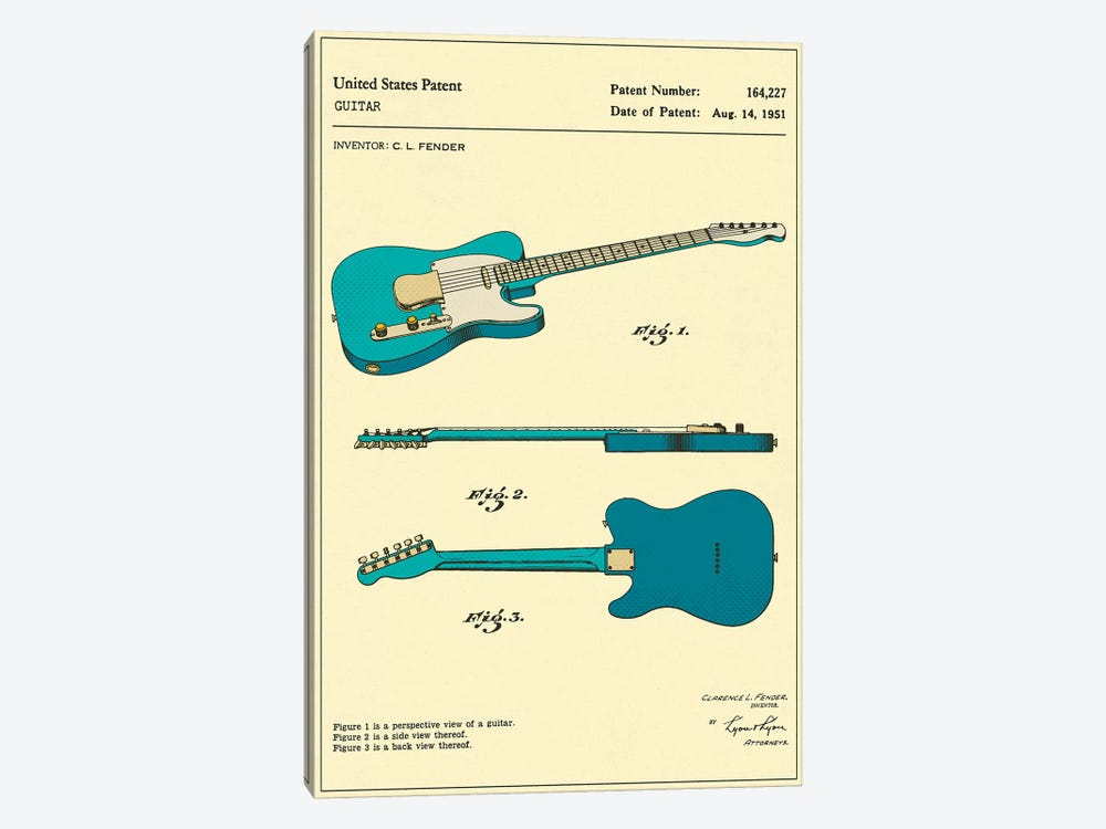 C.L. Fender Guitar Patent by Jazzberry Blue 1-piece Art Print