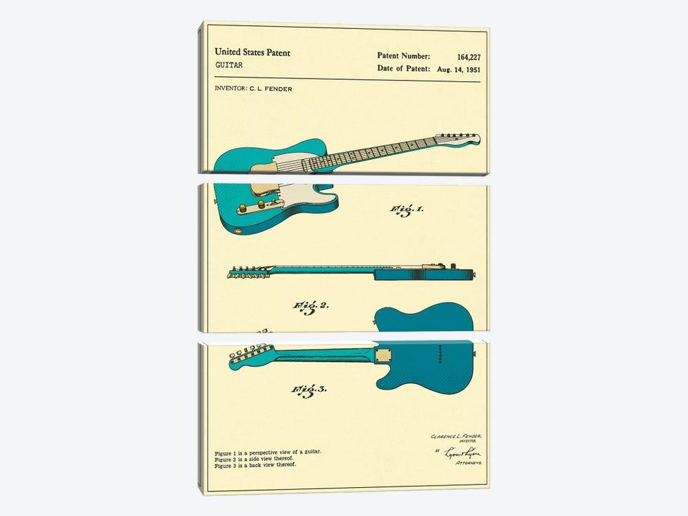 C.L. Fender Guitar Patent by Jazzberry Blue 3-piece Canvas Print
