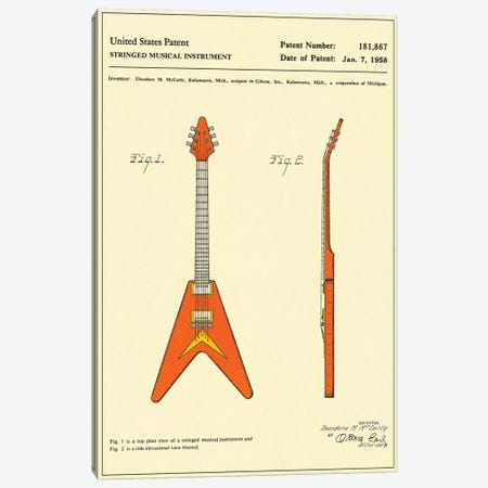 """T.M. McCarty (Gibson) Stringed Musical Instrument (""""Flying V"""") Patent Canvas Print #JBL146} by Jazzberry Blue Canvas Print"""