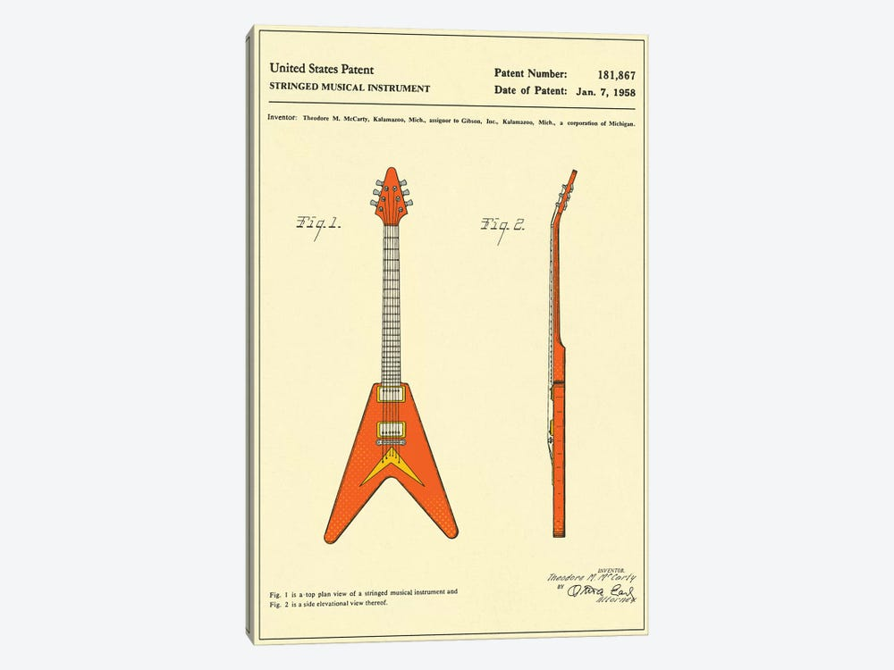 """T.M. McCarty (Gibson) Stringed Musical Instrument (""""Flying V"""") Patent by Jazzberry Blue 1-piece Canvas Wall Art"""