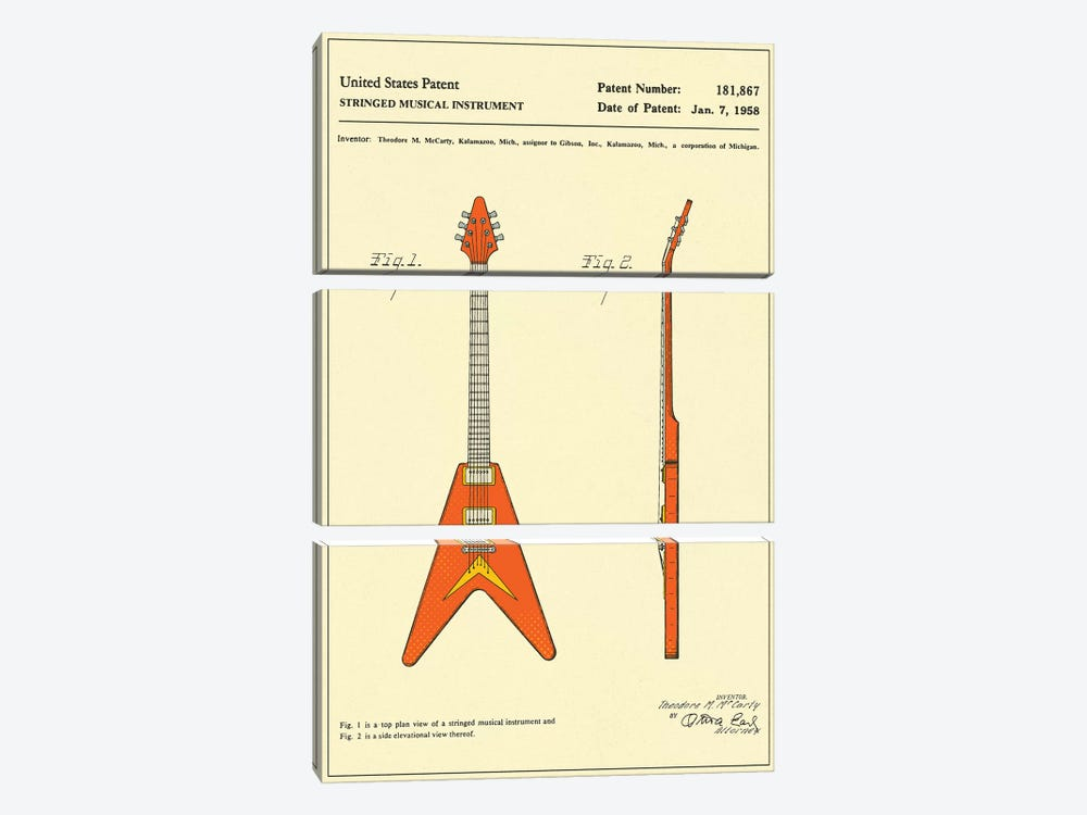 """T.M. McCarty (Gibson) Stringed Musical Instrument (""""Flying V"""") Patent by Jazzberry Blue 3-piece Canvas Wall Art"""