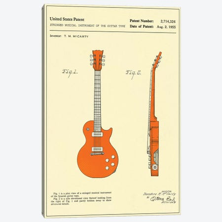 "T.M. McCarty (Gibson) Stringed Musical Instrument Of The Guitar Type (""Les Paul"") Patent Canvas Print #JBL147} by Jazzberry Blue Canvas Print"