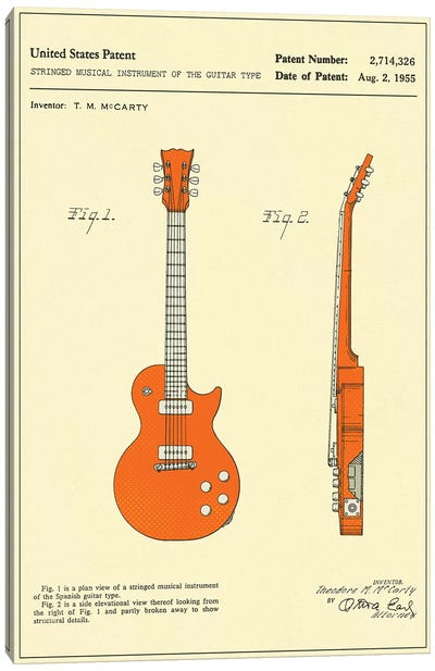 "T.M. McCarty (Gibson) Stringed Musical Instrument Of The Guitar Type (""Les Paul"") Patent Canvas Print #JBL147"
