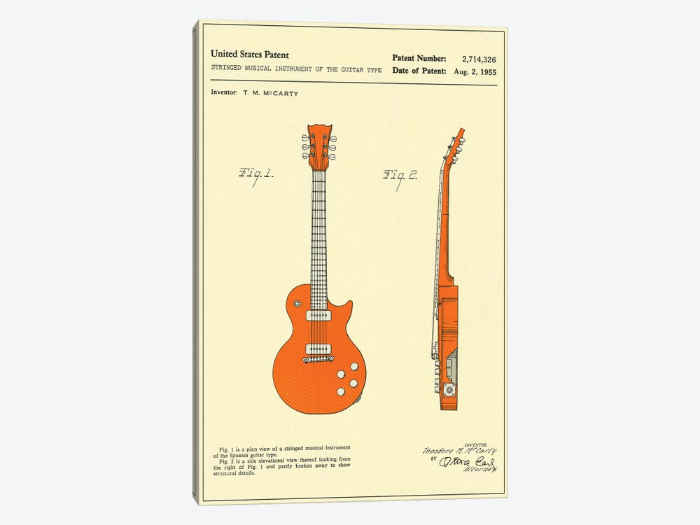 """T.M. McCarty (Gibson) Stringed Musical Instrument Of The Guitar Type (""""Les Paul"""") Patent by Jazzberry Blue 1-piece Art Print"""