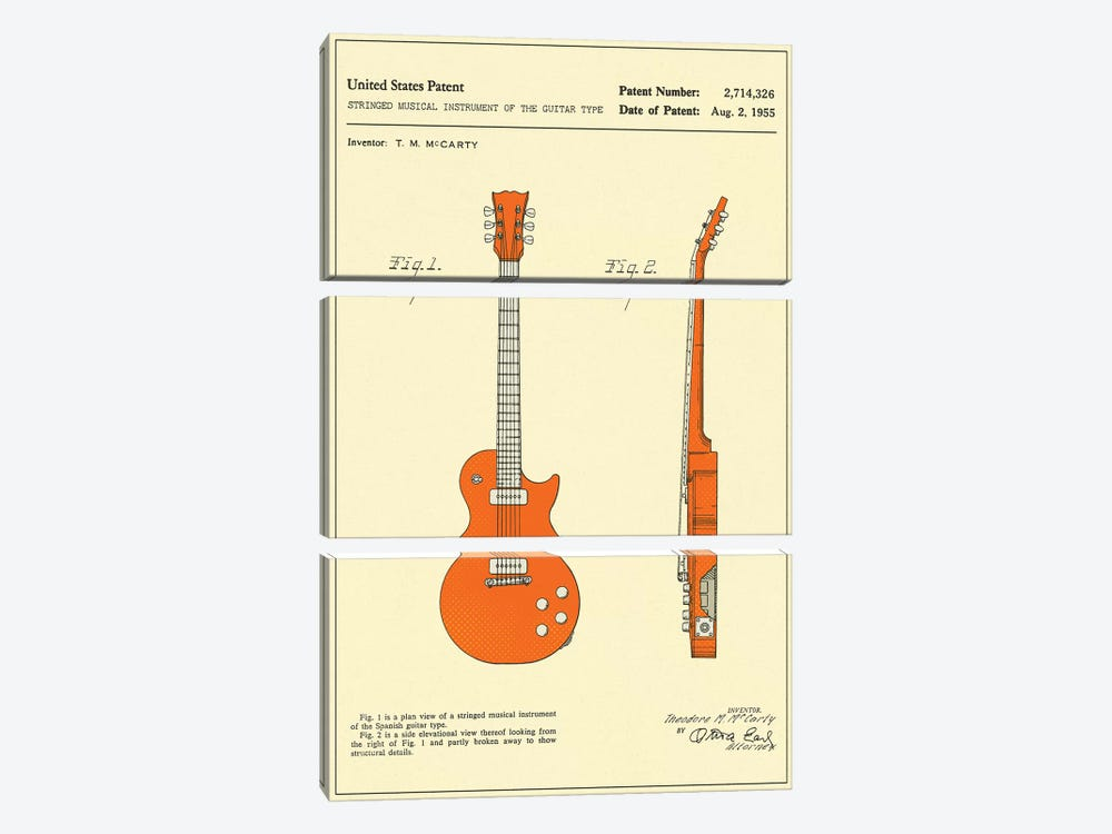 """T.M. McCarty (Gibson) Stringed Musical Instrument Of The Guitar Type (""""Les Paul"""") Patent by Jazzberry Blue 3-piece Canvas Art Print"""
