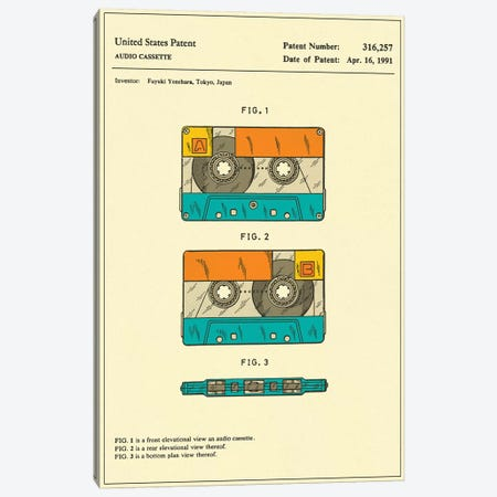 Fuyuki Yonehara (Fuji Film) Audio Cassette Patent Canvas Print #JBL151} by Jazzberry Blue Canvas Print