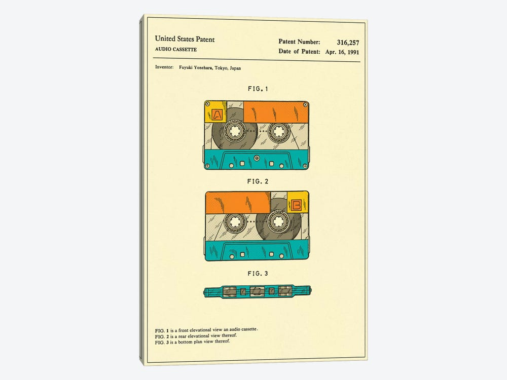 Fuyuki Yonehara (Fuji Film) Audio Cassette Patent by Jazzberry Blue 1-piece Canvas Art