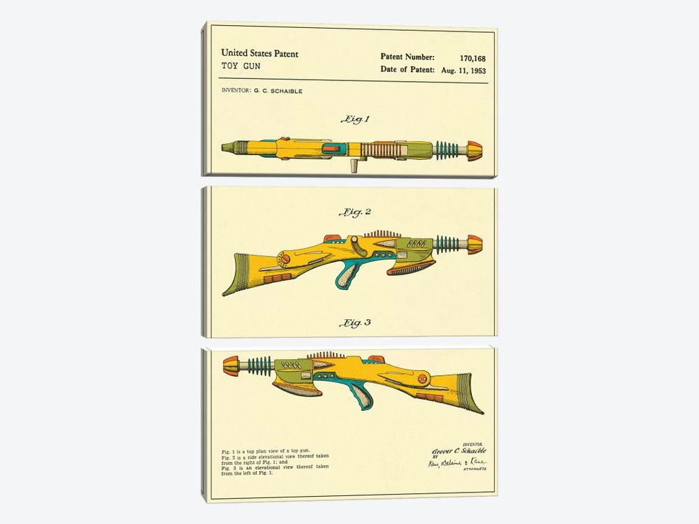 "G.C. Schaible Toy Gun (""Pyrotomic Disintegrator Rifle"") Patent by Jazzberry Blue 3-piece Canvas Artwork"