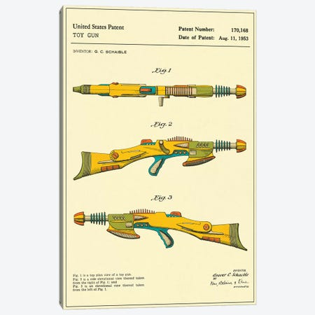"G.C. Schaible Toy Gun (""Pyrotomic Disintegrator Rifle"") Patent Canvas Print #JBL153} by Jazzberry Blue Canvas Art Print"