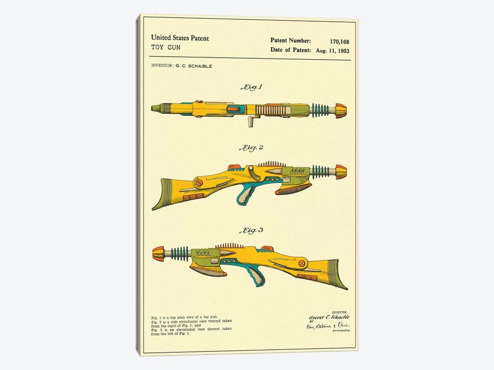 "G.C. Schaible Toy Gun (""Pyrotomic Disintegrator Rifle"") Patent by Jazzberry Blue 1-piece Canvas Art"