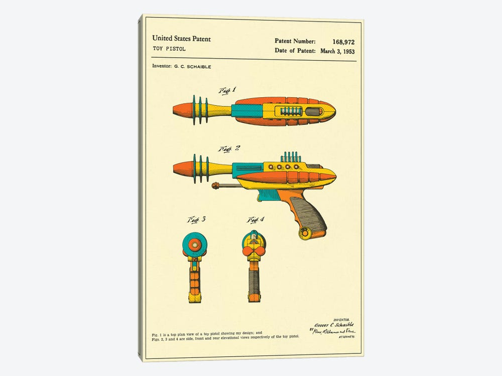 "G.C. Schaible Toy Pistol (""Pyrotomic Disintegrator"") Patent by Jazzberry Blue 1-piece Canvas Print"