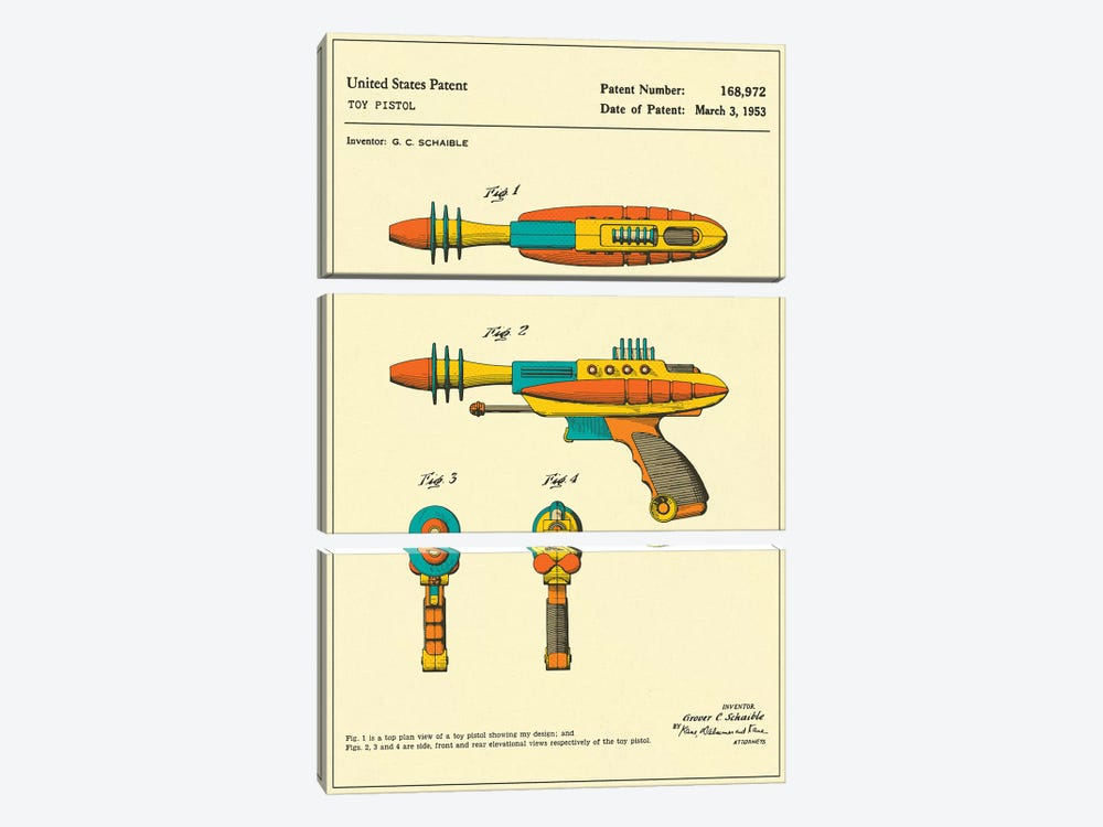 "G.C. Schaible Toy Pistol (""Pyrotomic Disintegrator"") Patent by Jazzberry Blue 3-piece Art Print"