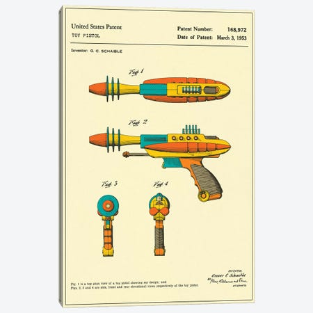 "G.C. Schaible Toy Pistol (""Pyrotomic Disintegrator"") Patent Canvas Print #JBL154} by Jazzberry Blue Canvas Artwork"