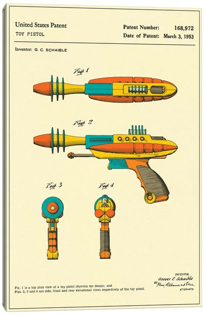 "G.C. Schaible Toy Pistol (""Pyrotomic Disintegrator"") Patent Canvas Art Print"
