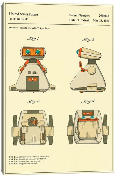 "Hiroshi Horiuchi (Tomy Kogyo, Inc.) Toy Robot (""Dingbot"") Patent Canvas Art Print"