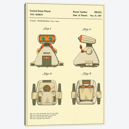 "Hiroshi Horiuchi (Tomy Kogyo, Inc.) Toy Robot (""Dingbot"") Patent Canvas Print #JBL158} by Jazzberry Blue Canvas Print"