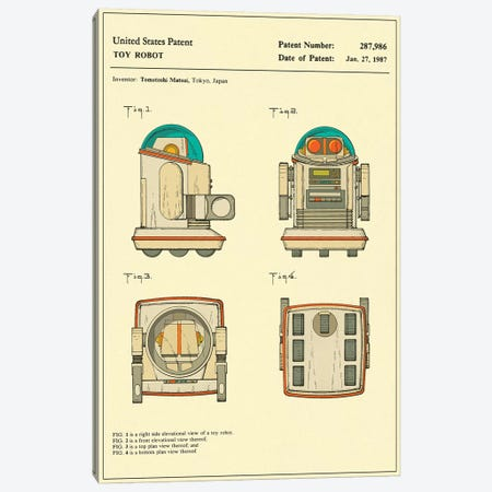 "Tomotoshi Matsui (Tomy Kogyo, Inc.) Toy Robot (""Omnibot"") Patent Canvas Print #JBL160} by Jazzberry Blue Canvas Art"