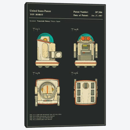 "Tomotoshi Matsui (Tomy Kogyo, Inc.) Toy Robot (""Omnibot"") Patent (Black) Canvas Print #JBL161} by Jazzberry Blue Canvas Wall Art"