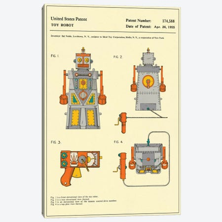 """Sid Noble (Ideal Toy Corporation) Toy Robot (""""Robert the Robot) Patent Canvas Print #JBL164} by Jazzberry Blue Canvas Art Print"""