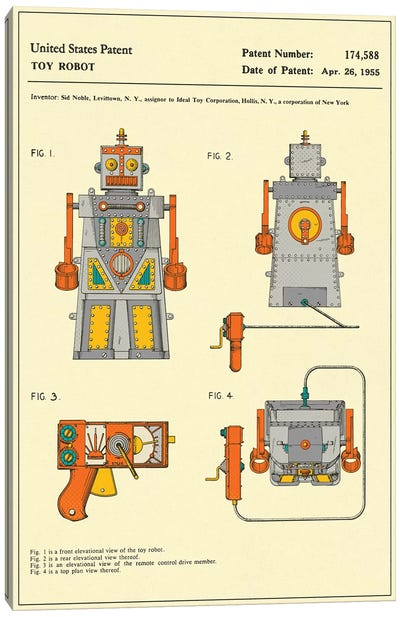 """Sid Noble (Ideal Toy Corporation) Toy Robot (""""Robert the Robot) Patent Canvas Art Print"""