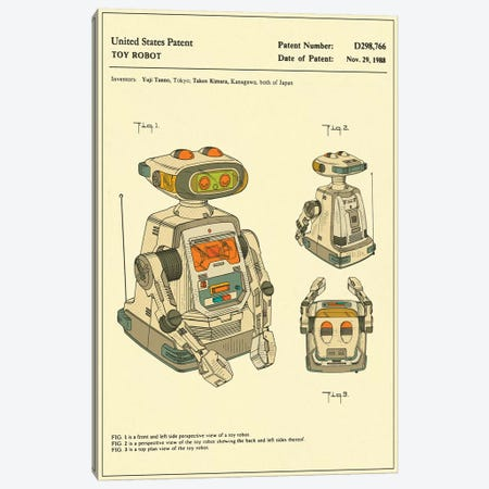 "Yuji Tanno & Takeo Kimura (Playtime Products, Inc.) Toy Robot (""Gemini"") Patent Canvas Print #JBL166} by Jazzberry Blue Art Print"