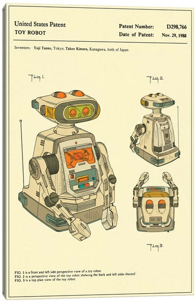 "Yuji Tanno & Takeo Kimura (Playtime Products, Inc.) Toy Robot (""Gemini"") Patent Canvas Art Print"
