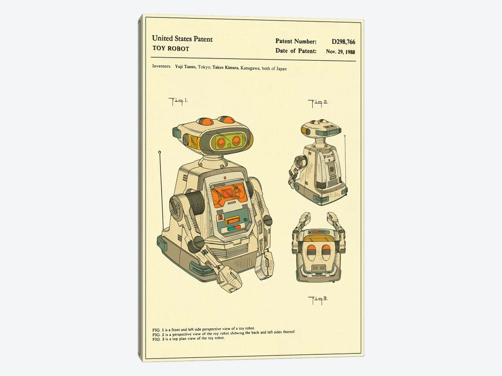 "Yuji Tanno & Takeo Kimura (Playtime Products, Inc.) Toy Robot (""Gemini"") Patent by Jazzberry Blue 1-piece Canvas Art"
