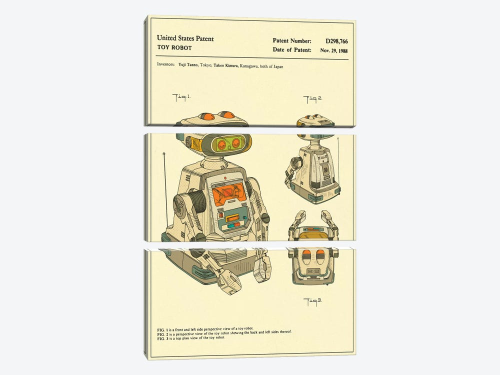 "Yuji Tanno & Takeo Kimura (Playtime Products, Inc.) Toy Robot (""Gemini"") Patent by Jazzberry Blue 3-piece Canvas Artwork"