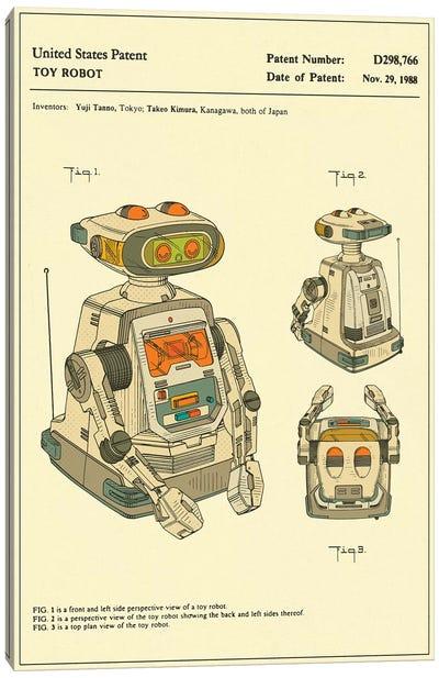 "Yuji Tanno & Takeo Kimura (Playtime Products, Inc.) Toy Robot (""Gemini"") Patent Canvas Art Print"